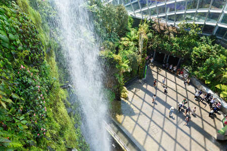 SINGAPORE-November 25, 2019: Cloud Forest Dome at Gardens by the Bay in Singapore, famous tourist attraction. View from above
