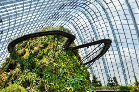 SINGAPORE-November 25, 2019: Cloud Forest Dome at Gardens by the Bay in Singapore, famous tourist attraction