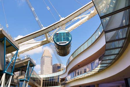 SINGAPORE-November 26, 2019: Ferris wheel cabin Singapore Flyer close-up.