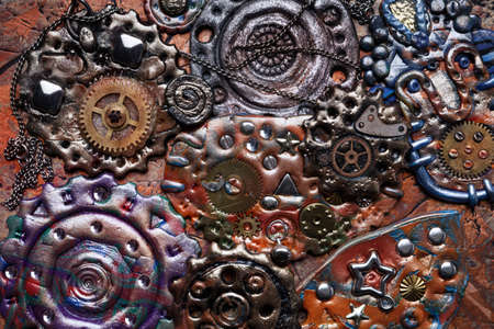 Molten colored gears and shiny elements. Flexible Steampunk background