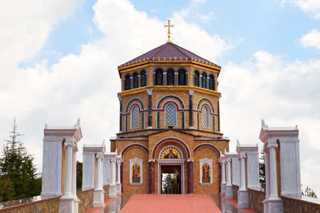 Throni, Cyprus - July 20, 2019: Orthodox church near tomb of the 1st President of Cyprus Archbishop Makarios III at hill Throni of Panayia over Kykkos Monastery