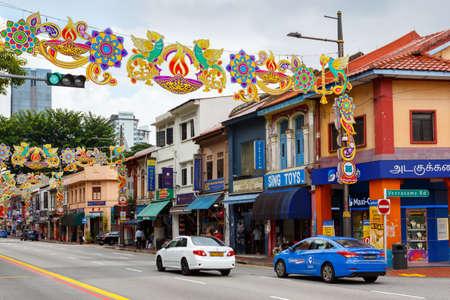Singapore, Singapore-November 28, 2019: Serangoon Road festively decorated for Christmas, Little India