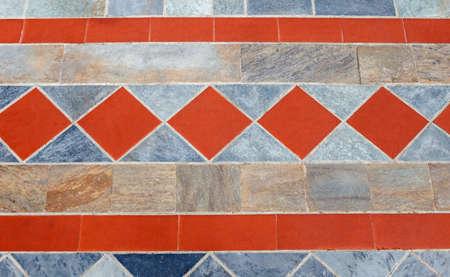 Beautiful pavement of red and gray clinker brick. Walking path