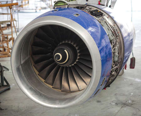 cowl: Turbine of jet aircraft with removed fan cowl panel