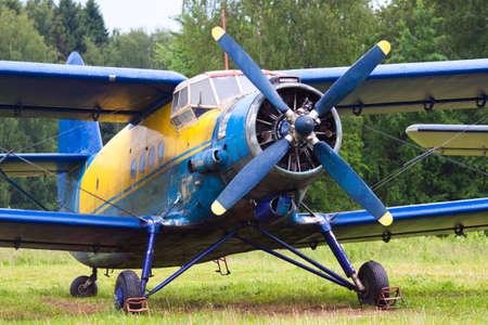 aerodrome: Propeller plane on the russian aerodrome