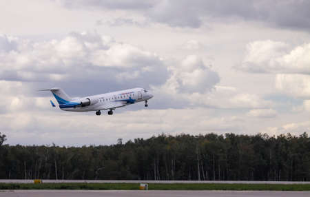 bombardier: Moscow, Russia - June 27,2013: Bombardier CRJ-200 of airline Yamal take off in the Domodedovo airport. Editorial
