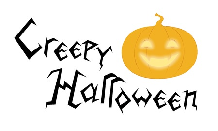 Creepy Halloween greeting lettering for Background, Banner, Poster, Card. Creative angular font and funny pumpkin vector illustration.