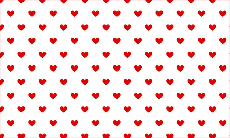 Small red hearts on white background