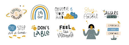 Set of inspirational handwritten quotes. Mindfulness, self love and compassion concept. Vector handwritten lettering. Illustration