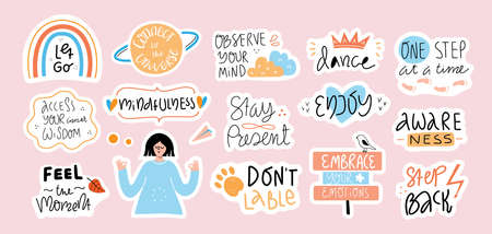 Collection of inspirational handwritten quotes in stickers. Mindfulness, self love and compassion concept. Bundle of decoration for daily planner and diaries isolated on white. Vector lettering.