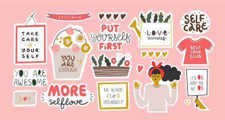 Set of stickers for daily planner, self love.