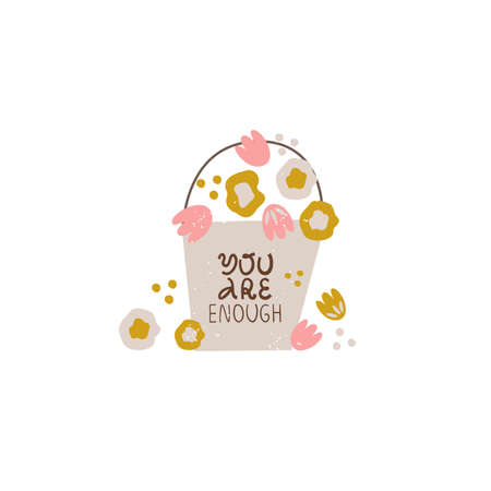 You are enough cute vector hand drawn quote