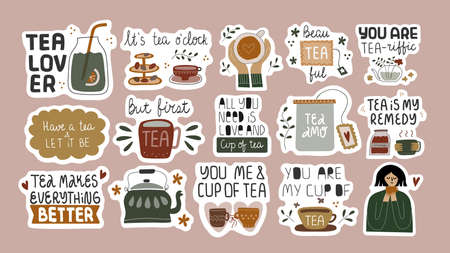 Set of funny tea quotes in stickers.
