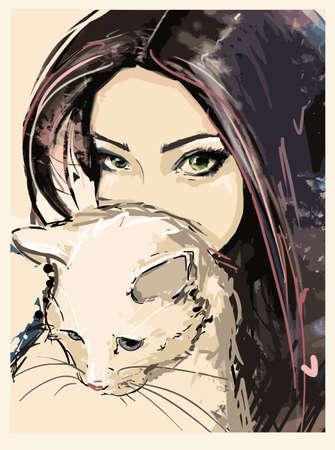 mujeres morenas: Chica ilustración de moda gato