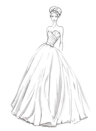ウェディングドレス: ウェディング ドレスのスケッチ。