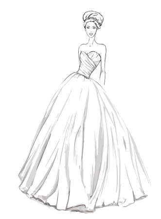 white dresses: Sketch of the wedding dress.