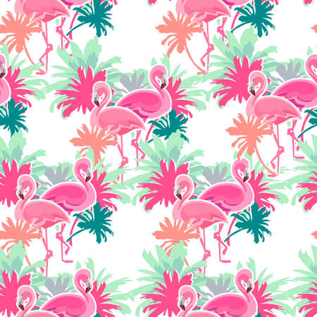 Flamingo Seamless Pattern Illustration