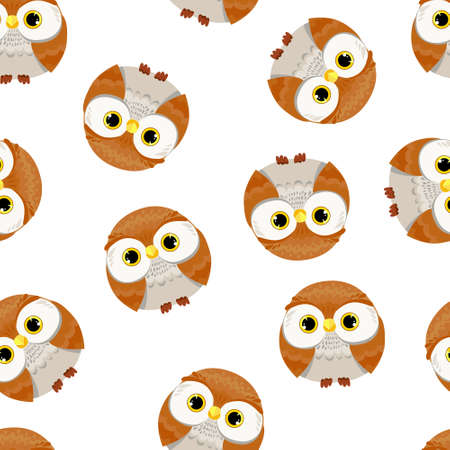 Owl Pattern Seamless Vector Illustration  イラスト・ベクター素材