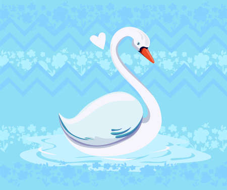 Swan vector illustration on a Blue background. Ilustracja