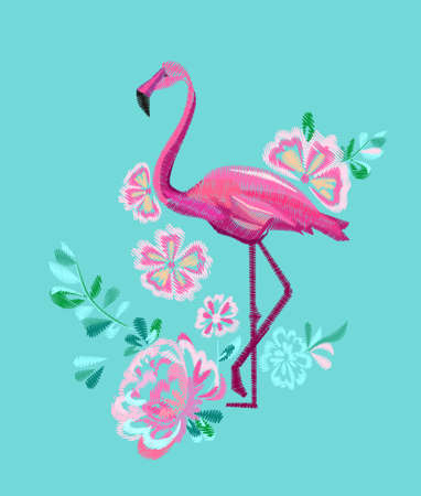 embroidery pink flamingo vector illustration Illustration
