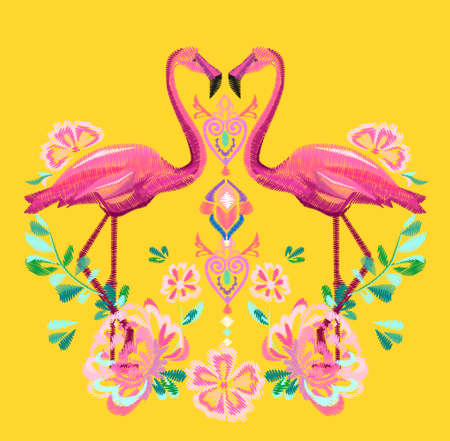 Beautiful embroidery tropical theme, flamingo flowers vector