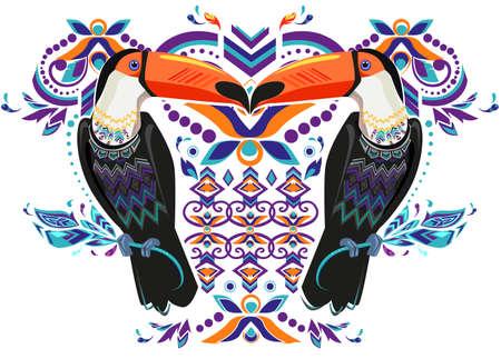 Beautiful tropical theme, Toucan vector. Ilustracja