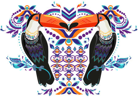 Beautiful tropical theme, Toucan vector. Illustration