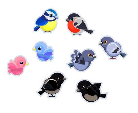 Cute Birds Set Vector Illustration isolated on plain background.