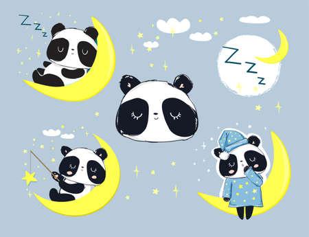 Cute Panda Bear sleeping on the moon set.