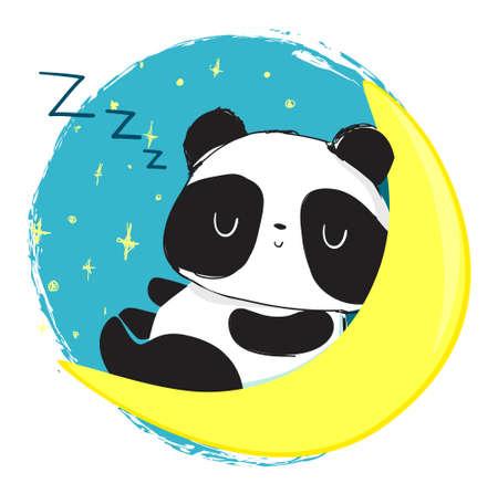 Cute Panda Bear sleeping on the moon. Vector Illustration