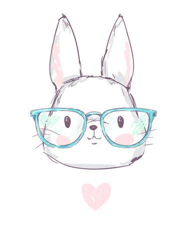 Hand Drawn Cute Rabbit Vector illustration
