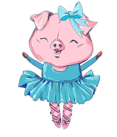 Sketch piggy illustration, Hand Drawn Cute Pig. ballerina illustration, children print on t-shirt.