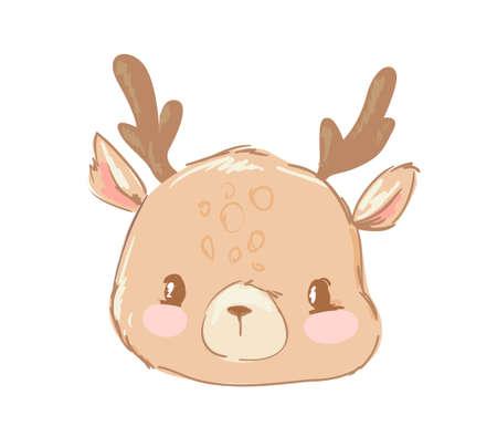 Hand Drawn cute little Deer isolated on white background. Childish illustration. Print design on t-shirt. Zoo vector. Ilustração