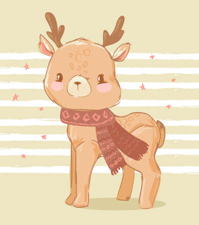 Hand drawn cute deer on a striped background. Print design on t-shirt.