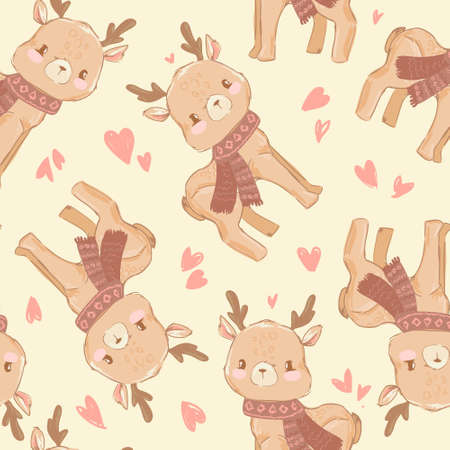 Pattern seamless background with a deer. Vector illustration. Fabric Design. Stockfoto