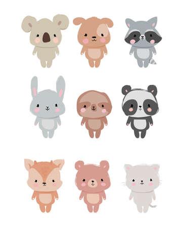 Set of Cute Hand Drawn Animals. Childish Illustration. Cartoon characters isolated on white background. Raccoon, sloth, cat, koala, deer, bear, rabbit, panda, dog. Print on t-shirt. Zoo Vector. Stockfoto