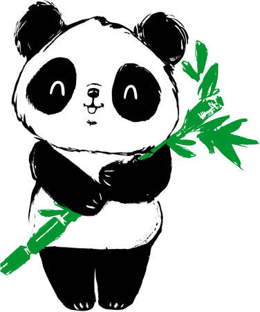Hand drawn cute panda bear and bamboo. vector illustration.