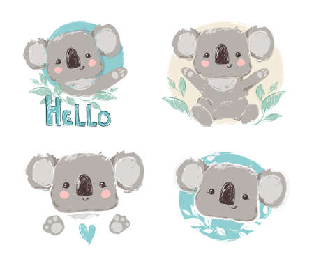 Beautiful Cute childish print Set with koala. Sketch Hand Drawn Animal koala textile design Vector illustration. Иллюстрация