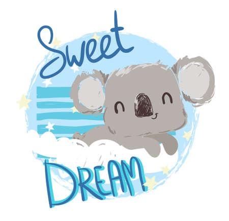 Beautiful Cute childish print with koalaSketch . Hand Drawn Animal koala and sky. Textile design Vector illustration.