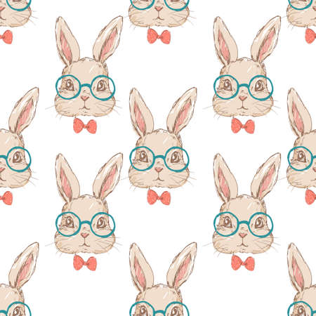 Childlike rabbit with red bow and glasses illustration. Pattern seamless