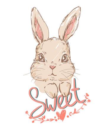 Hand drawn cute bunny. Handwritten phrase - Sweet. Rabbit and frame of flowers sketch. Print for t-shirt vector design. Childish illustration. Illustration