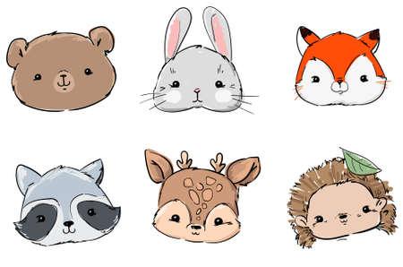 Woodland Set Animals, Hand Drawn Cute Rabbit, Fox, Bear, Raccoon, Hedgehog and Deer, Vector Illustration. Print Design.
