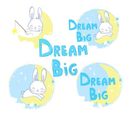 Set of cute rabbits on the moon. Vector. Cartoon character, Dream Big.