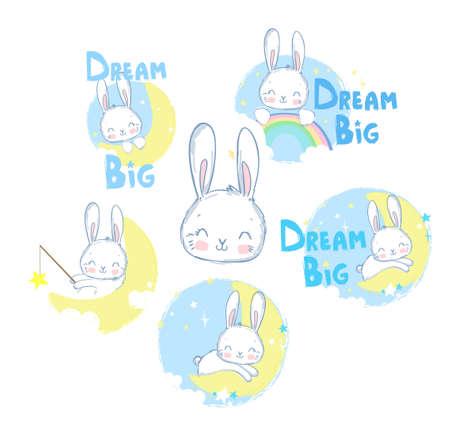 Set of cute rabbits on the moon. Vector Illustration. Cartoon character, Dream Big.