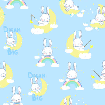 Hand drawn cute Rabbit catch the stars pattern seamless. Childrens design for fabric. Vector illustration