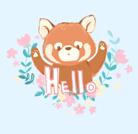 Cute red panda and flowers vector illustration, Childrens prints Illustration