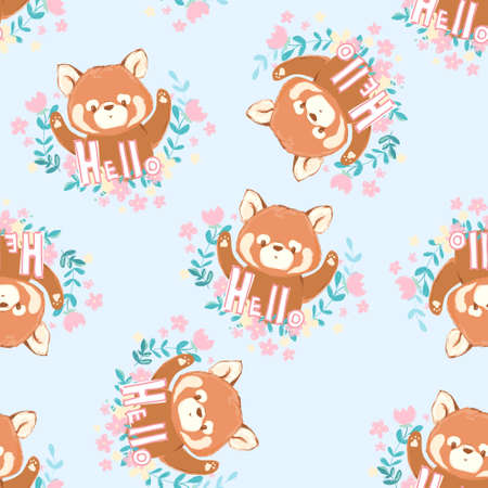 Hand drawn Cute red panda seamless vector Illustration
