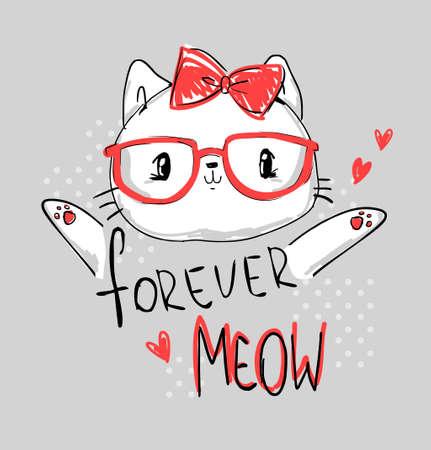 Hand drawn cat with glasses. Print design children t-shirt. Stock Illustratie