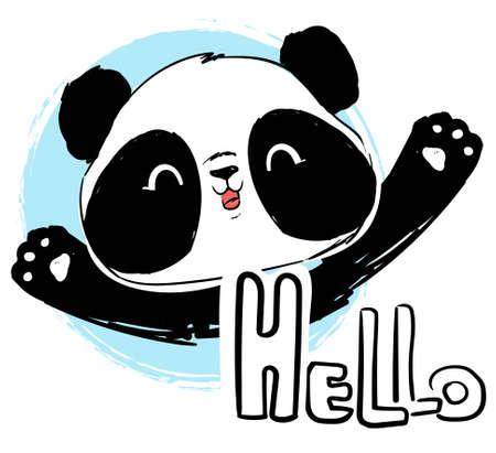 Cute cartoon panda vector illustration. Letters- Hello. Vetores