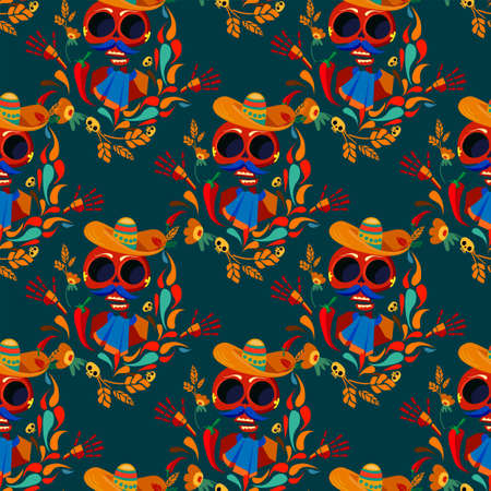 Day of the Dead pattern seamless Vector Illustration. skull. Иллюстрация